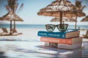 Books at the beach.